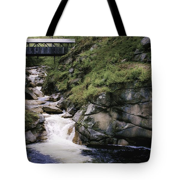 Vintage Covered Bridge And Waterfall Tote Bag by Jason Moynihan