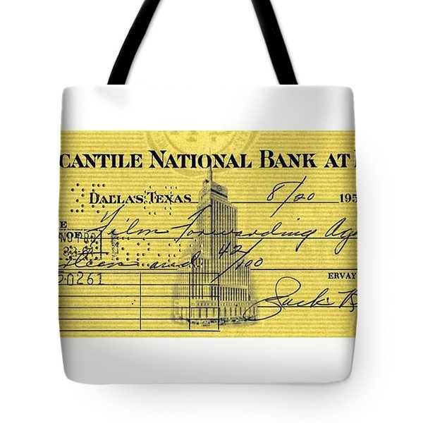 Tote Bag featuring the drawing Vintage Dallas Bank Check Signed By Jack Ruby Killer Of Lee Harvey Oswald by Peter Gumaer Ogden