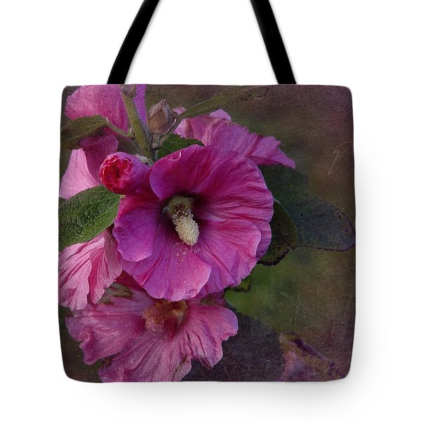 Vintage December Hollyhock Tote Bag