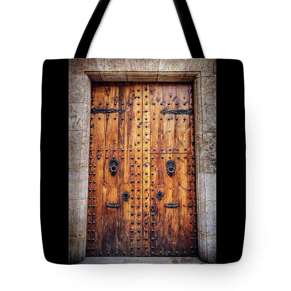 Vintage Door In Valencia Spain  Tote Bag