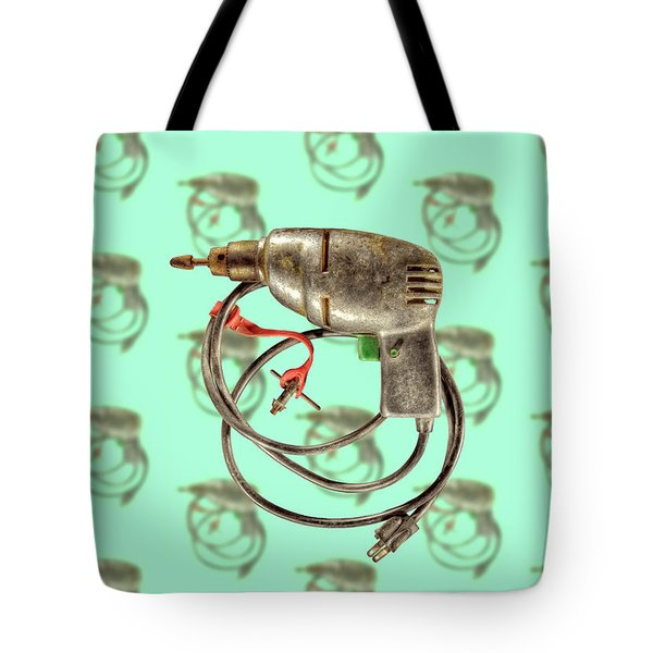 Tote Bag featuring the photograph Vintage Drill Motor Green Trigger Pattern by YoPedro