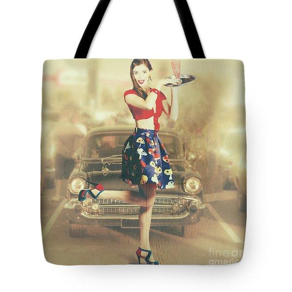 Vintage Drive Thru Pin-up Girl Tote Bag