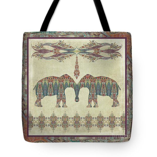 Tote Bag featuring the painting Vintage Elephants Kashmir Paisley Shawl Pattern Artwork by Audrey Jeanne Roberts