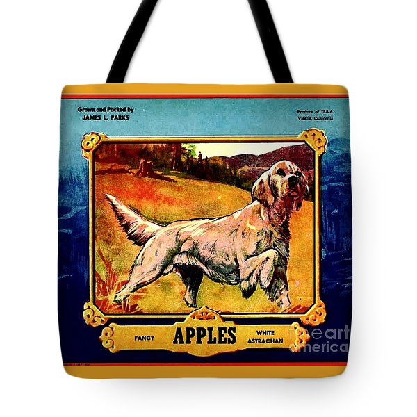 Tote Bag featuring the painting Vintage English Setter Apples Advertisement by Peter Gumaer Ogden