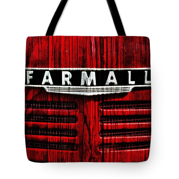 Vintage Farmall Red Tractor With Wood Grain Tote Bag