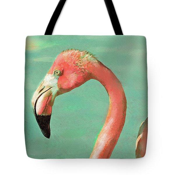 Vintage Flamingo Tote Bag by Jane Schnetlage