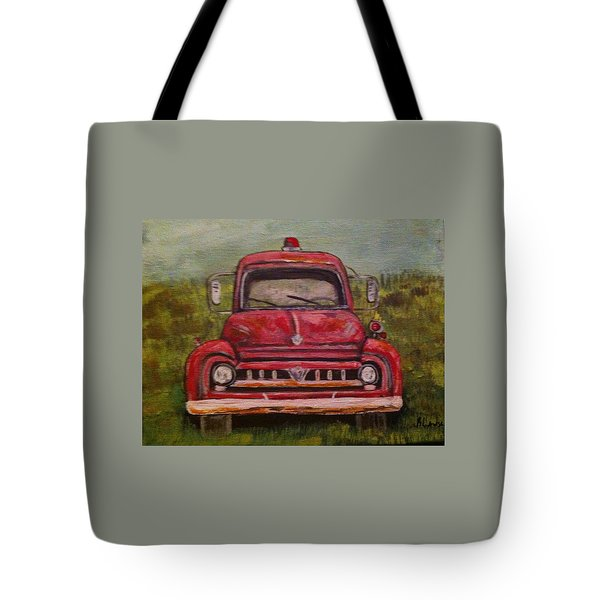 Vintage  Ford Fire Truck Tote Bag
