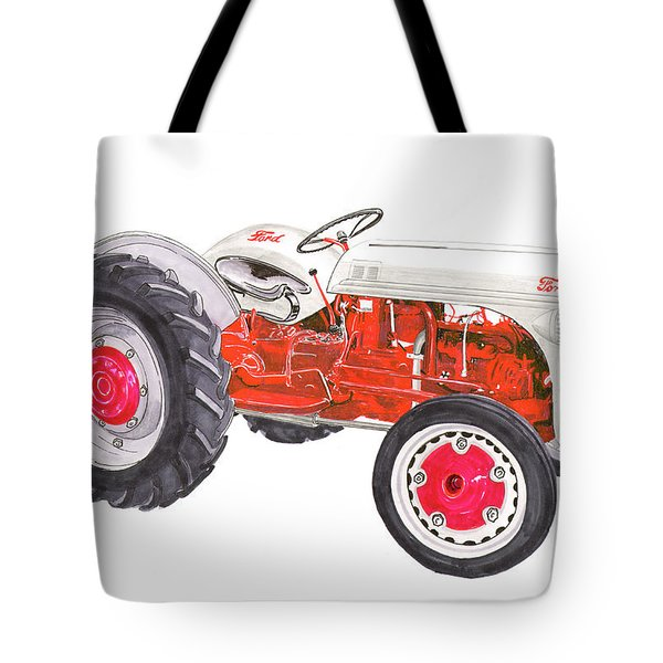 Tote Bag featuring the painting Vintage Ford Tractor 1941 by Jack Pumphrey