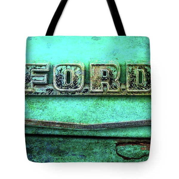 Tote Bag featuring the photograph Vintage Ford Truck Logo  by Terry DeLuco
