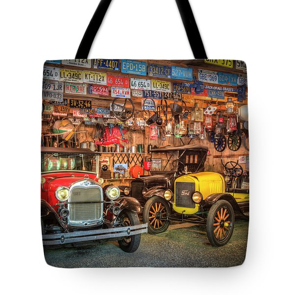 Tote Bag featuring the photograph Vintage Fords Collectibles by Debra and Dave Vanderlaan