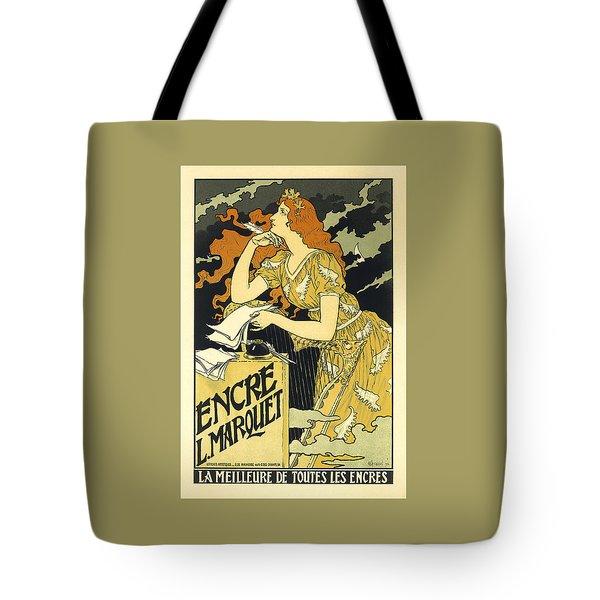 Vintage French Advertising Art Nouveau Encre L'marquet Tote Bag