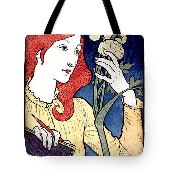 Vintage French Advertising Art Nouveau Salon Des Cent Tote Bag
