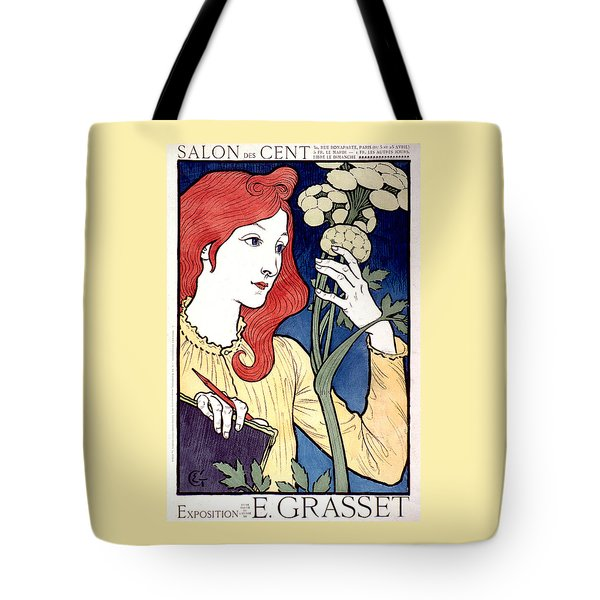 Vintage French Advertising Art Nouveau Salon Des Cent Tote Bag