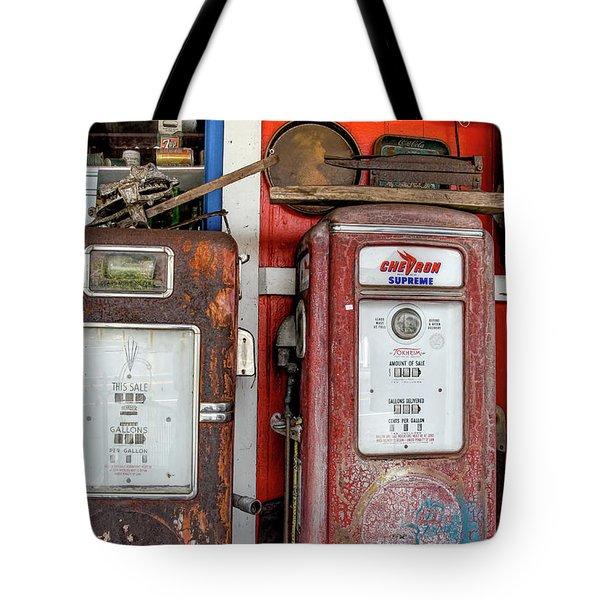 Vintage Gas Pumps Tote Bag