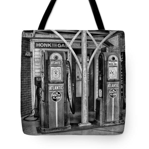 Vintage Gas Station Bw Tote Bag