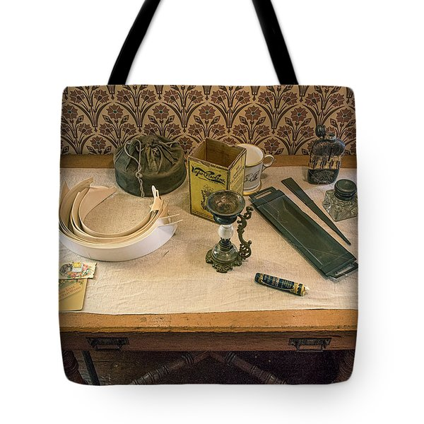 Tote Bag featuring the photograph Vintage Gentlemen's Preparation Table by Gary Slawsky