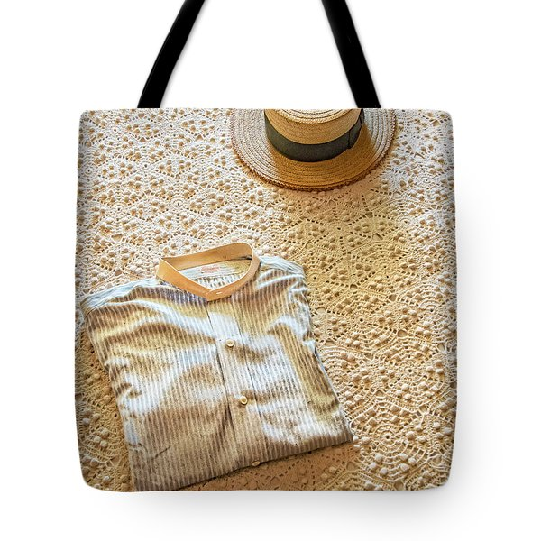 Tote Bag featuring the photograph Vintage Golfer's Hat And Shirt by Gary Slawsky