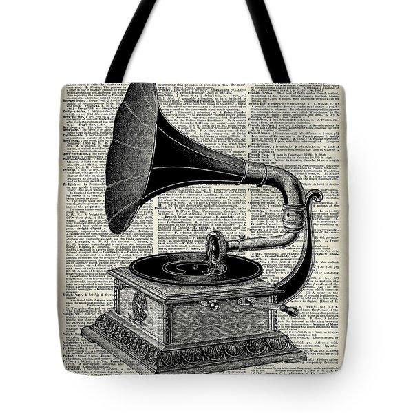 Vintage Gramophone Tote Bag by Jacob Kuch
