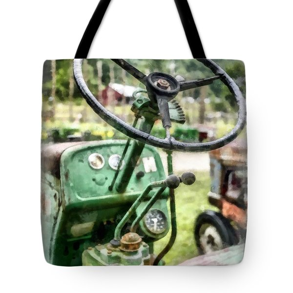 Vintage Green Tractor Steering Wheel Tote Bag
