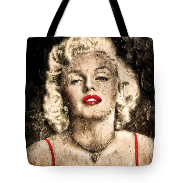 Tote Bag featuring the painting Vintage Grunge Goddess Marilyn Monroe  by Isabella Howard