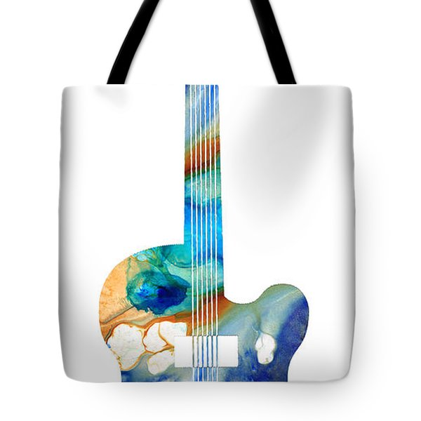 Vintage Guitar - Colorful Abstract Musical Instrument Tote Bag