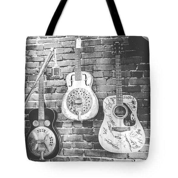 Vintage Guitar Trio In Black And White Tote Bag