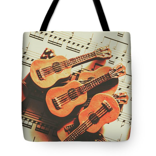Vintage Guitars On Music Sheet Tote Bag
