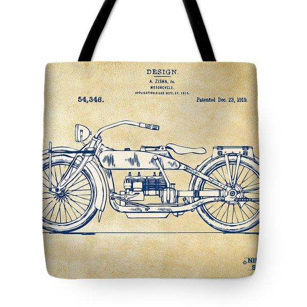 Vintage Harley-davidson Motorcycle 1919 Patent Artwork Tote Bag by Nikki Smith