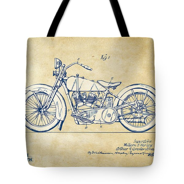 Vintage Harley-davidson Motorcycle 1928 Patent Artwork Tote Bag by Nikki Smith
