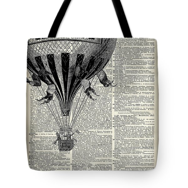 Vintage Hot Air Balloon Illustration,antique Dictionary Book Page Design Tote Bag by Jacob Kuch