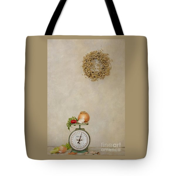 Vintage Household Scale And Vegtables Tote Bag