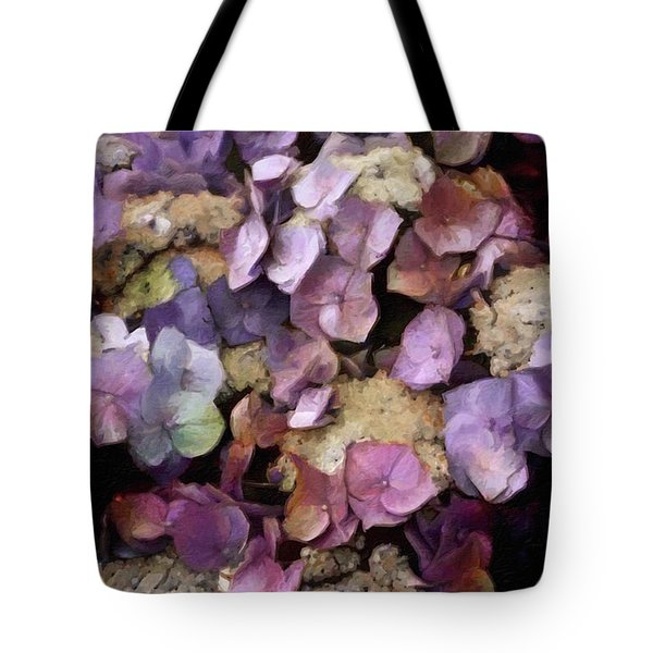 Tote Bag featuring the mixed media Vintage Hydrangea by Susan Maxwell Schmidt