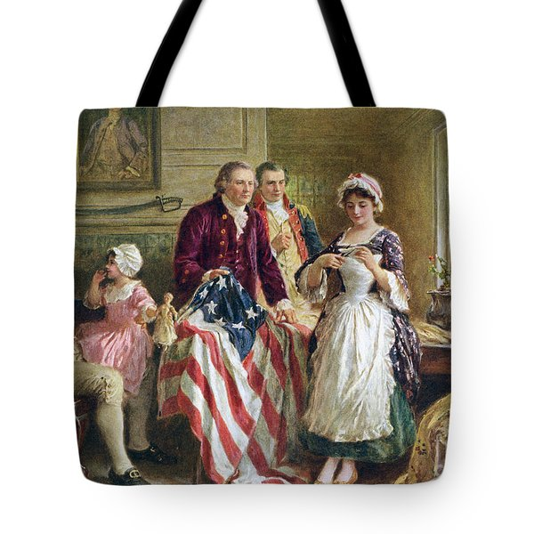 Vintage Illustration Of George Washington Watching Betsy Ross Sew The American Flag Tote Bag