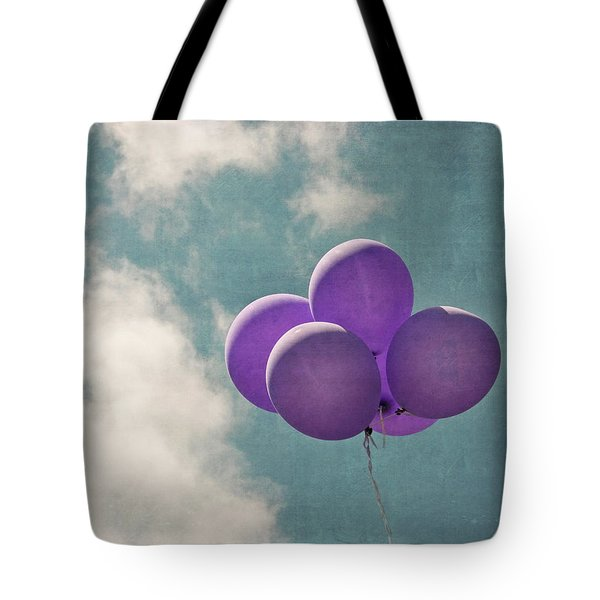 Vintage Inspired Purple Balloons In Blue Sky Tote Bag