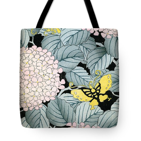 Vintage Japanese Illustration Of A Hydrangea Blossoms And Butterflies Tote Bag