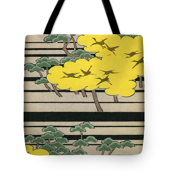 Vintage Japanese Illustration Of An Abstract Forest Landscape With Flying Cranes Tote Bag