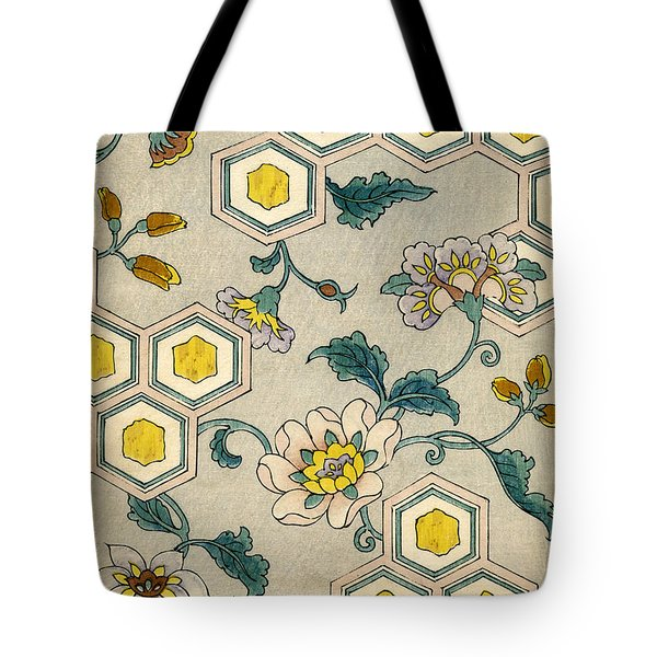 Vintage Japanese Illustration Of Blossoms On A Honeycomb Background Tote Bag