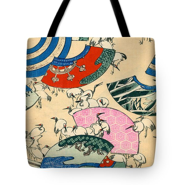 Vintage Japanese Illustration Of Fans And Cranes Tote Bag