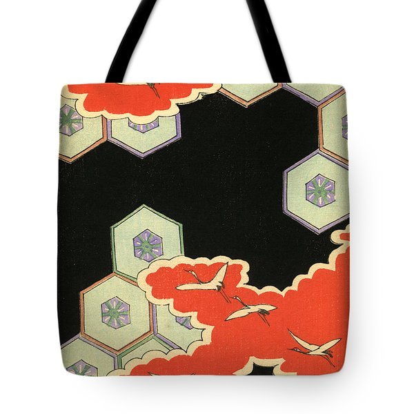 Vintage Japanese Illustration Of Red Clouds And Flying Cranes In An Abstract Landscape Tote Bag