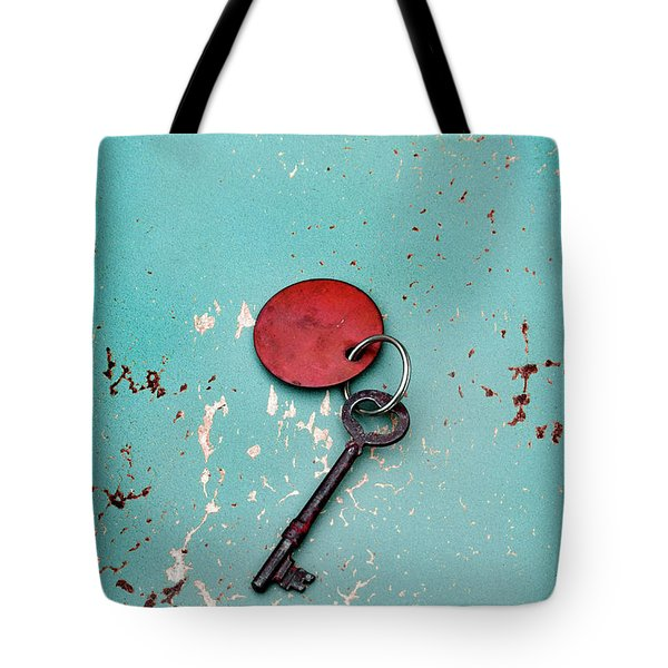 Vintage Key With Red Tag Tote Bag by Jill Battaglia