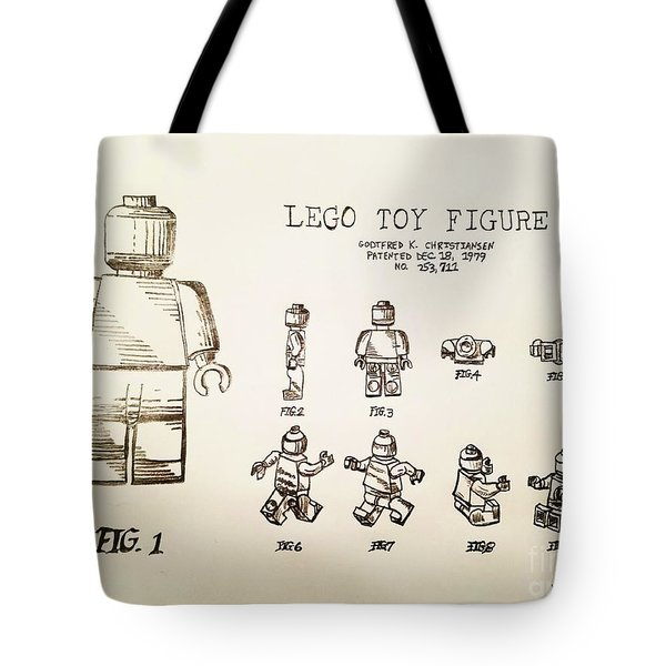 Vintage Lego Toy Figure Patent - Graphite Pencil Sketch Tote Bag