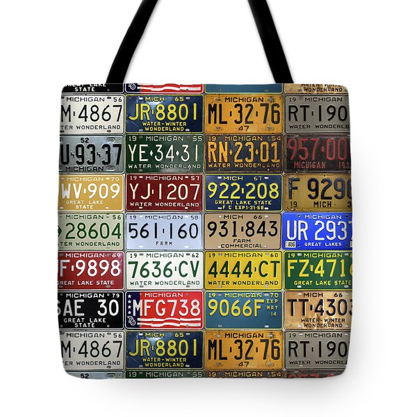 Vintage License Plates From Michigan's Rich Automotive Past Tote Bag by Design Turnpike