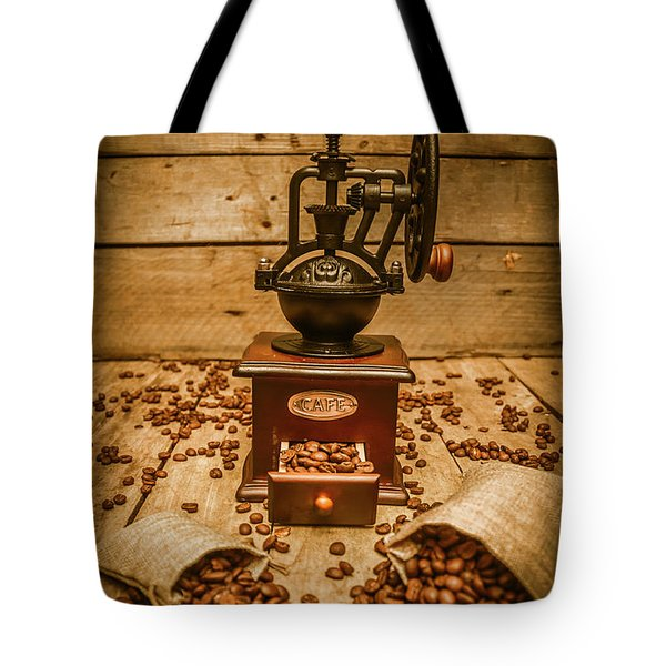Vintage Manual Grinder And Coffee Beans Tote Bag
