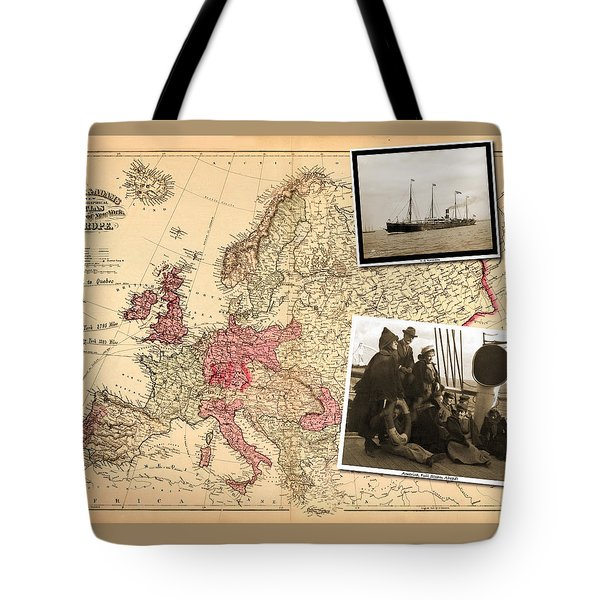 Vintage Map Europe To New York Tote Bag