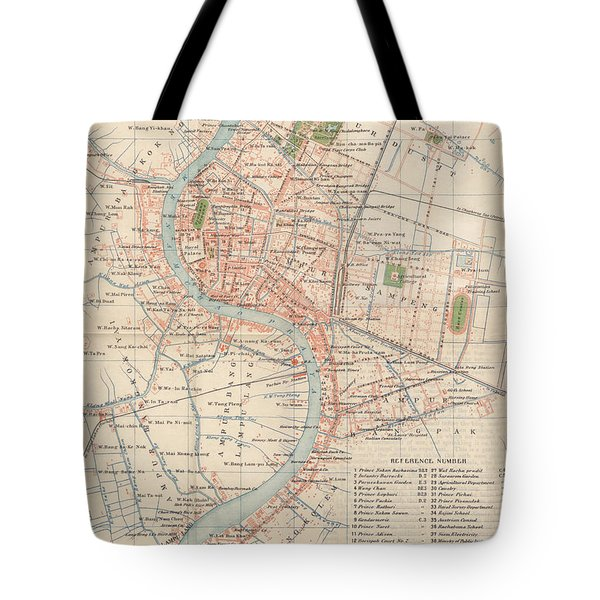 Vintage Map Of Bangkok, Thailand From 1920 Tote Bag