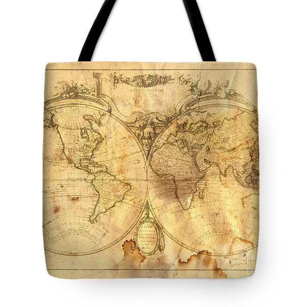 Vintage Map Of The World Tote Bag by Michal Boubin
