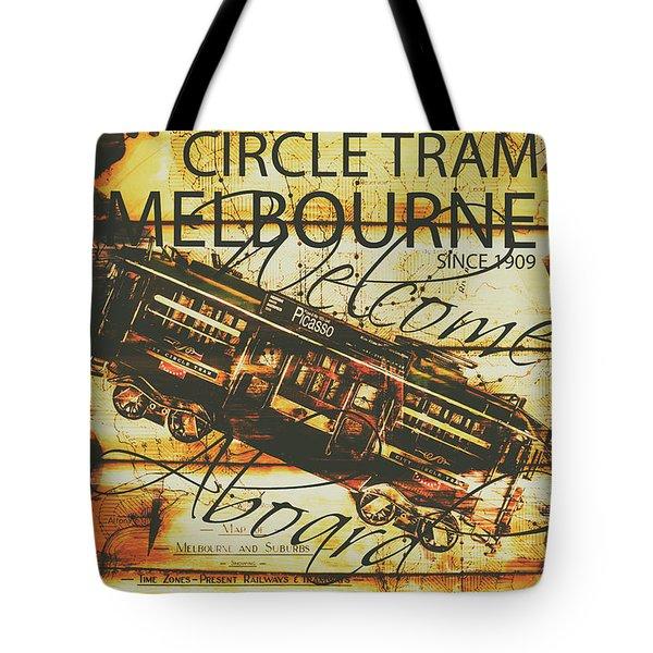 Vintage Melbourne Tram Tin Sign Tote Bag