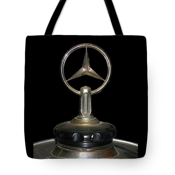 Tote Bag featuring the photograph Vintage Mercedes Radiator Cap by David and Carol Kelly