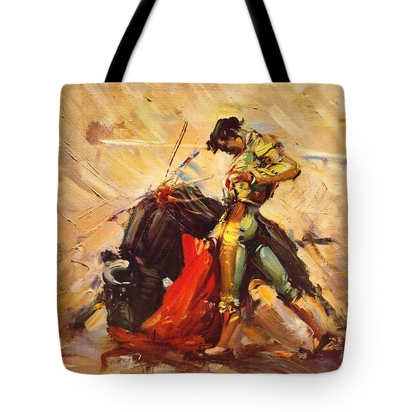 Vintage Mexico Bullfight Travel Poster Tote Bag by George Pedro