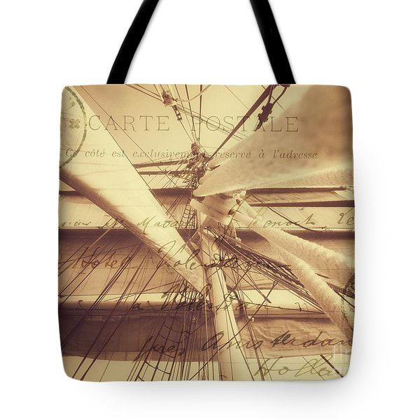 Vintage Nautical Sailing Typography In Sepia Tote Bag